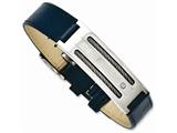 Chisel Stainless Steel Blue Leather W/wire Adjustable Buckle Bracelet style: SRB1118825
