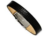 Chisel Stainless Steel Textured Black Leather 8in Bracelet style: SRB11458