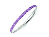 Chisel Stainless Steel Polished Light Purple Crystal Rounded Bangle style: SRB1209