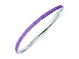 Chisel Stainless Steel Polished Light Purple Crystal Wavy Bangle style: SRB1210