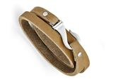 Chisel Stainless Steel Light Brown Leather Wrap Bracelet style: SRB121524