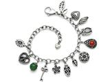 Chisel Stainless Steel Synthetic Jade and Red Glass With 2in Ext. Charm Bracelet style: SRB12287
