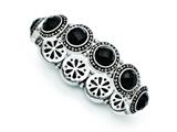 Chisel Stainless Steel Black Onyx Antiqued Stretch Bracelet style: SRB1229