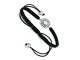 Chisel Stainless Steel Cz Black Macrame Adjustable Bracelet style: SRB1234