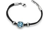 Chisel Stainless Steel Polished Blue Glass Leather  With 1in Ext. Bracelet style: SRB12657