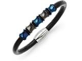 Chisel Stainless Steel Blue and Black Ip-plated Black Leather Bracelet style: SRB1272875