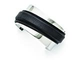 Chisel Stainless Steel Polished With Leather Cuff Bangle style: SRB1299