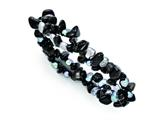 Chisel Black Tourmaline and Fresh Water Cultured Pearls Stretch Bracelet style: SRB1313