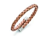 Chisel Stainless Steel Polished Adjustable Tan Woven Leather Bracelet style: SRB1335