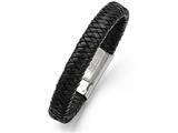 Chisel Stainless Steel Polished Black Woven Leather Bracelet style: SRB134185