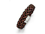 Chisel Stainless Steel Brushed Black And Orange Woven Leather Bracelet style: SRB134485
