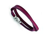 Chisel Stainless Steel Polished Purple Leather Wrap Bracelet style: SRB1352
