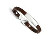 Chisel Stainless Steel Polished Id And Reddish Brown Leather Bracelet style: SRB136385