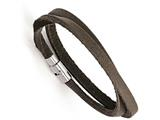 Chisel Stainless Steel Polished Brown Leather Wrap Bracelet style: SRB136417