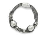 Chisel Stainless Steel Polished And Brushed Beads Twisted Bracelet style: SRB137785