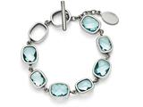 Chisel Stainless Steel Polished Blue Czs Toggle W/.5in. Ext. Bracelet style: SRB138175