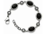 Chisel Stainless Steel Polished Black Onyx/cz W/.75in Ext. Bracelet style: SRB138775