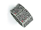 Chisel Stainless Steel Polished/antiqued Red Cz Stretch Bracelet style: SRB1389