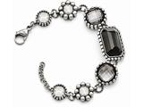 Chisel Stainless Steel Polished/antiqued Glass W/1in Ext. Bracelet style: SRB13908