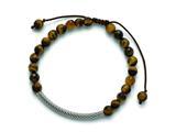 Chisel Stainless Steel Polished Tigers Eye Adjustable Macrame Bracelet style: SRB1394