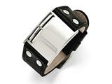 Chisel Stainless Steel Polished Black Leather Buckle Bracelet style: SRB1429925