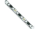 Chisel Stainless Steel Carbon Fiber 24k Gold Plated Bracelet - 9.5 inches