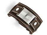 Chisel Stainless Steel Brown Leather Brushed/polished Buckle Bracelet style: SRB14349