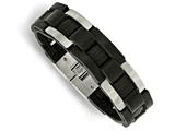 Chisel Stainless Steel Brushed Black Leather Bracelet style: SRB14389