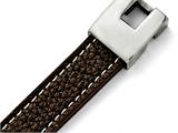 Chisel Stainless Steel Polished Brown Leather Bracelet style: SRB14408