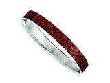 Chisel Stainless Steel Polished Red/black Enameled Wide Bangle style: SRB1446