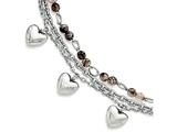 Chisel Stainless Steel Black and White Agate With Hearts Bracelet style: SRB144775