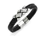 Chisel Stainless Steel Antiqued Black Leather Bracelet style: SRB1472825