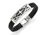 Chisel Stainless Steel Antiqued Black Leather Bracelet style: SRB1474825