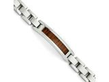 Chisel Stainless Steel Polished/brushed Brown Wood Enameled Bracelet style: SRB149585