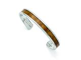 Chisel Stainless Steel Polished Wood Inlay Enameled Bangle style: SRB1504
