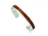 Chisel Stainless Steel Polished Red/orange Wood Inlay Bangle style: SRB1505