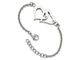 Chisel Stainless Steel Polished Hearts With Czs W/1.25in. Ext. Bracelet style: SRB1557775