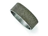 Chisel Stainless Steel Polished Black Enamel W/crystals Wide Flat Bangle style: SRB1559