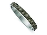 Chisel Stainless Steel Polished Black Enamel W/crystals Thin Flat Bangle style: SRB1560