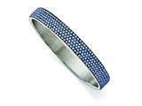 Chisel Stainless Steel Polished Blue Enamel W/crystals Thin Flat Bangle style: SRB1561