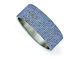 Chisel Stainless Steel Polished Blue Enamel W/crystals Wide Flat Bangle style: SRB1562