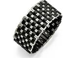 Chisel Stainless Steel Polished Woven Black Leather Bracelet style: SRB15657