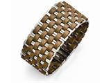 Chisel Stainless Steel Polished Woven Brown Leather Bracelet style: SRB15667