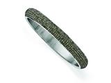 Chisel Stainless Steel Polished Black Enamel Clear Crystal Rounded Bracelet style: SRB1568
