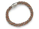 Chisel Stainless Steel Polished Rose Ip-plated Mesh Twist Bracelet style: SRB158275