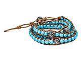 Chisel Stainless Steel Cord Imitation Turquoise/3 Polished Flowers Wrap Bracelet style: SRB15862325