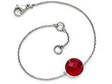 Chisel Stainless Steel Polished Red Glass W/1in Ext Bracelet style: SRB16077