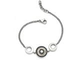 Chisel Stainless Steel Polished Black Mop And Crystal W/.75in Ext Bracelet style: SRB160975