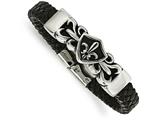 Chisel Stainless Steel Antiqued and Polished Fleur De Lis Black Leather Bracelet style: SRB1625825