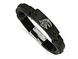 Chisel Stainless Steel Polished Antiqued Eagle Head Black Leather Bracelet style: SRB165885